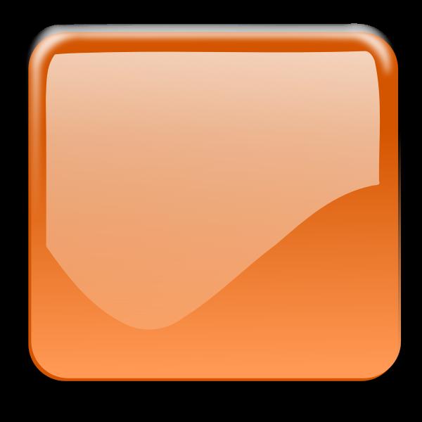Gloss orange square decorative button vector clip art