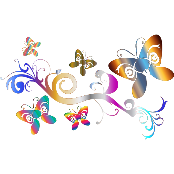 Vector image of butterflies and flowers decorative wallpaper
