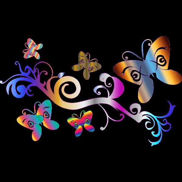 Flourish pattern with butterflies vector clip art