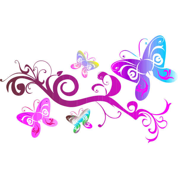 Colorful flourish with pink butterfly illustration