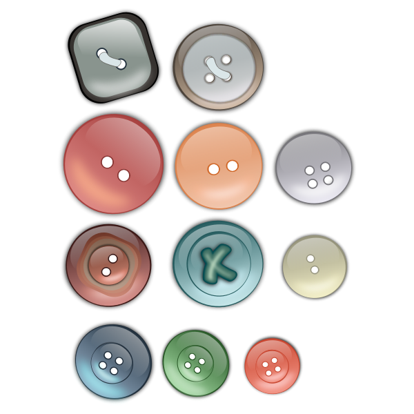 Vector drawing of selection of clothing buttons