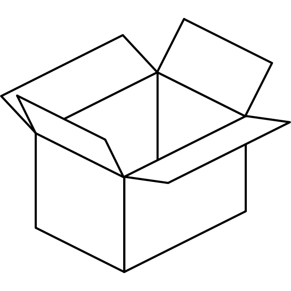 Vector image of cartoon box line art