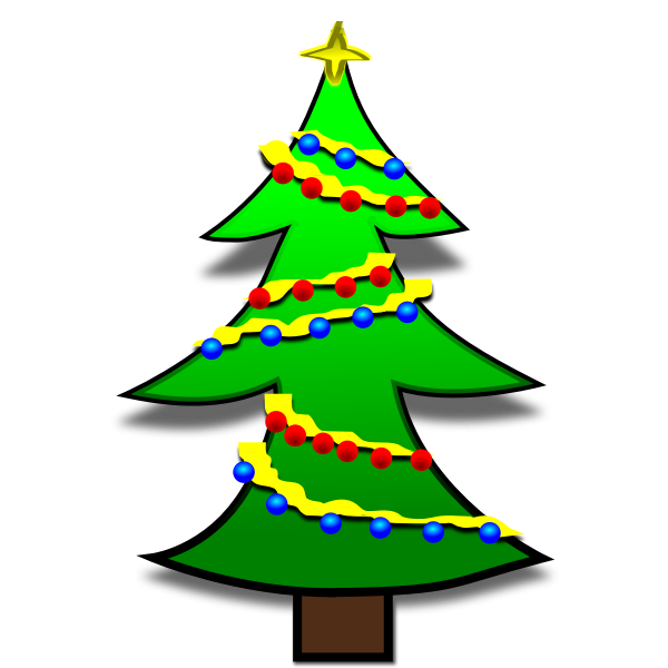 Christmas tree decorated with colorful bulbs