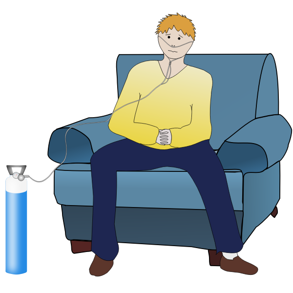 Vector illustration of pulmonary disease patient