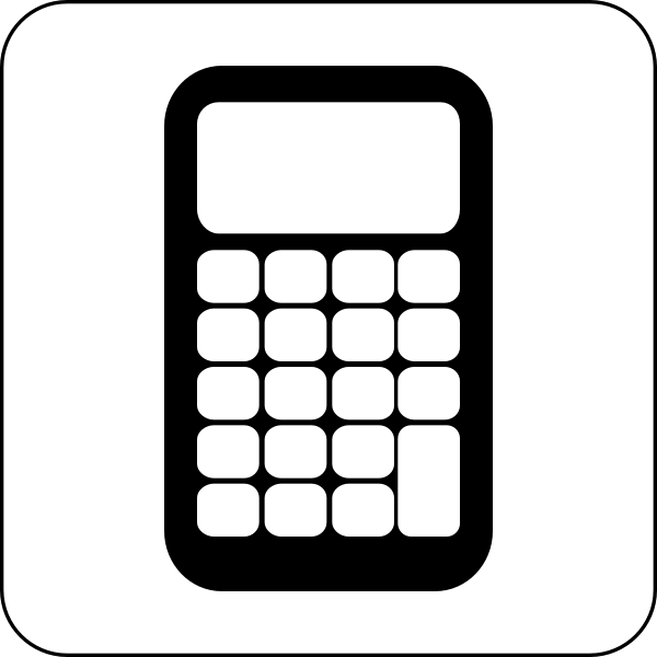 Vector illustration of black and white calculator icon