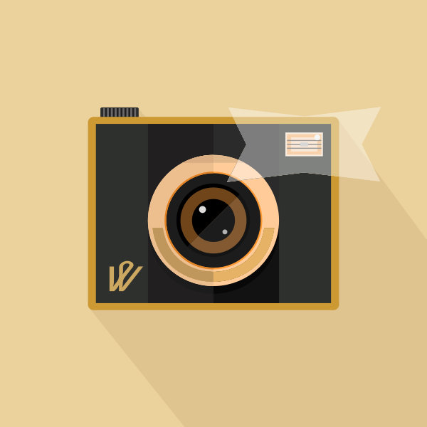 Vector image of retro camera with flash on brown background
