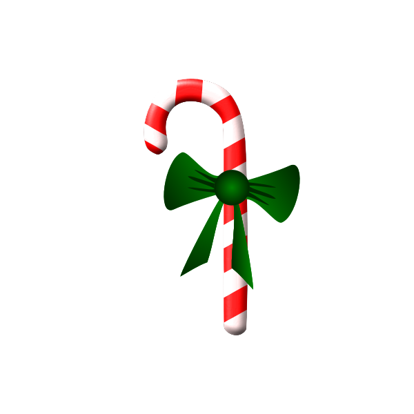 Vector clip art of candy cane with a green ribbon