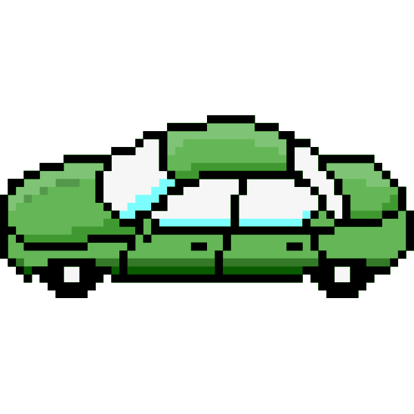 Vector illustration of side view of green car pixel art
