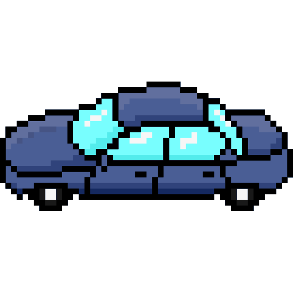 Vector image of side view of purple car pixel art