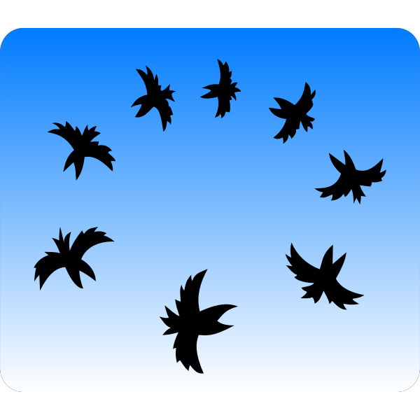 Black and white illustration of a small crows flying