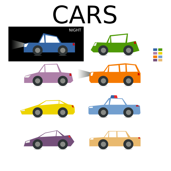 Vector image of cartoon set of cars