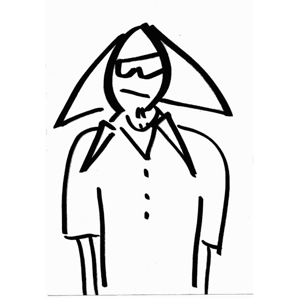 Cartoon person with triangle hair and sunglasses vector graphics
