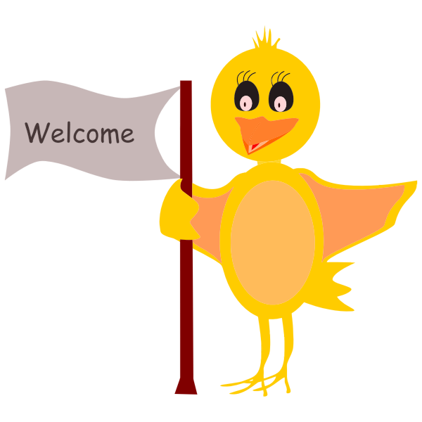 Cartoon Bird With Welcome Sign