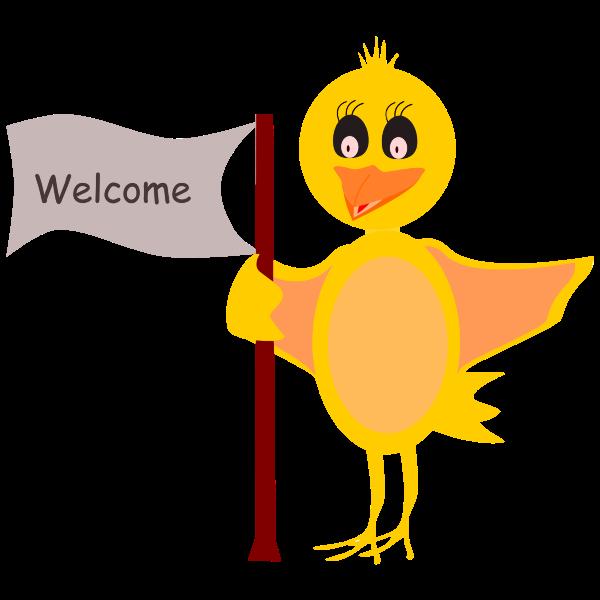 Cartoon Bird With Welcome Sign