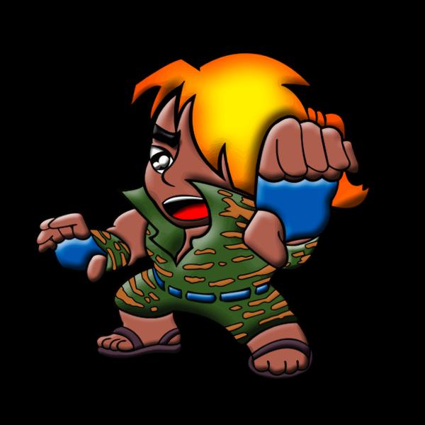 Vector illustration of martial artist cartoon character