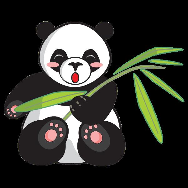 Cartoon panda and bamboo