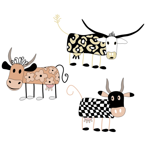 Vector graphics of decorated cartoon cows set