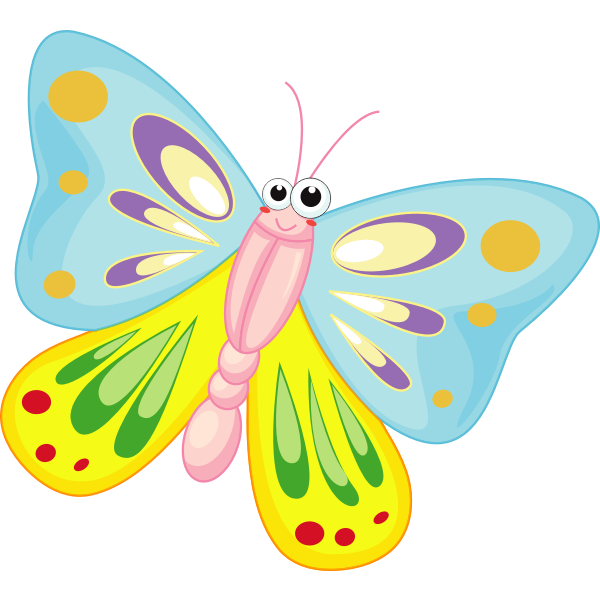 Smiling cartoon butterfly vector illustration