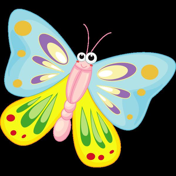 Smiling cartoon butterfly vector illustration
