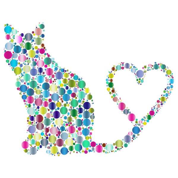 Cat 2 Silhouette Heart Tail Circles Prismatic 2