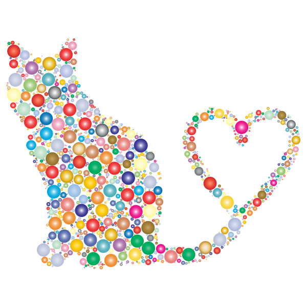 Cat 2 Silhouette Heart Tail Circles Prismatic 3