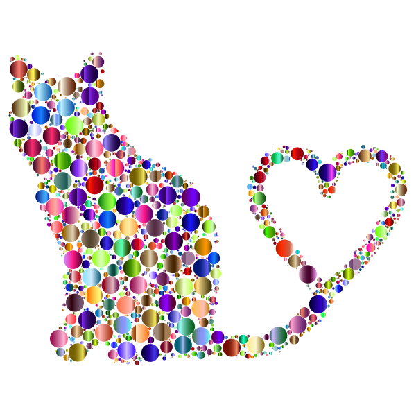 Cat 2 Silhouette Heart Tail Circles Prismatic 4