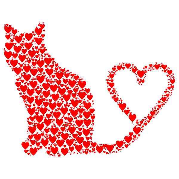 Cat 2 Silhouette Heart Tail Hearts Red
