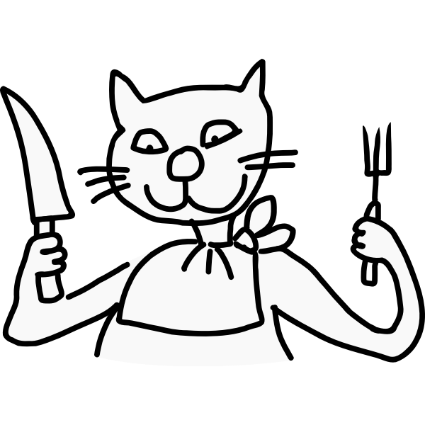 Vector image of cat ready to eat