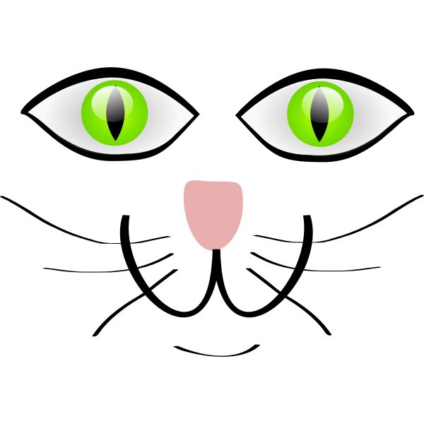 Vector clip art of cat with green eyes