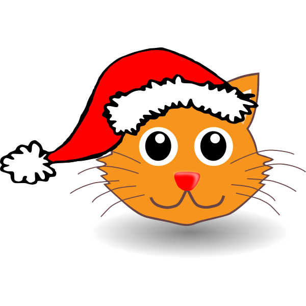 Cat with Santa Claus hat vectopr