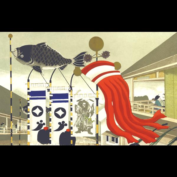 Japanese scene vector image