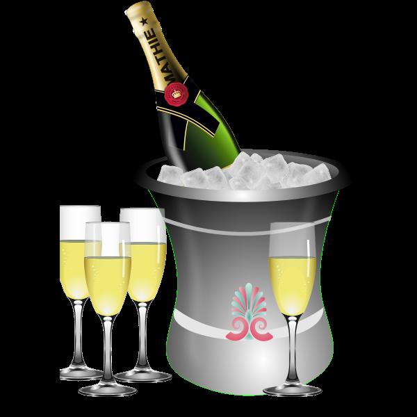 Champagne serving vector illustration