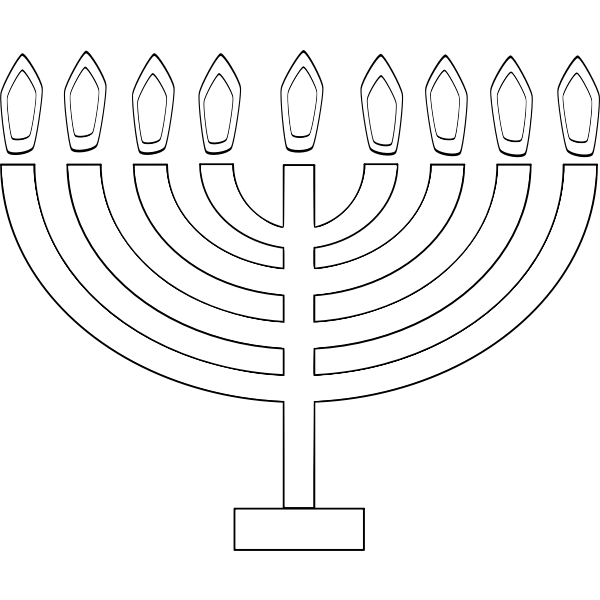 Image of outline of 9 candle Chanukkah lighting