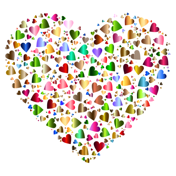 Chaotic Colorful Heart Fractal  Pattern