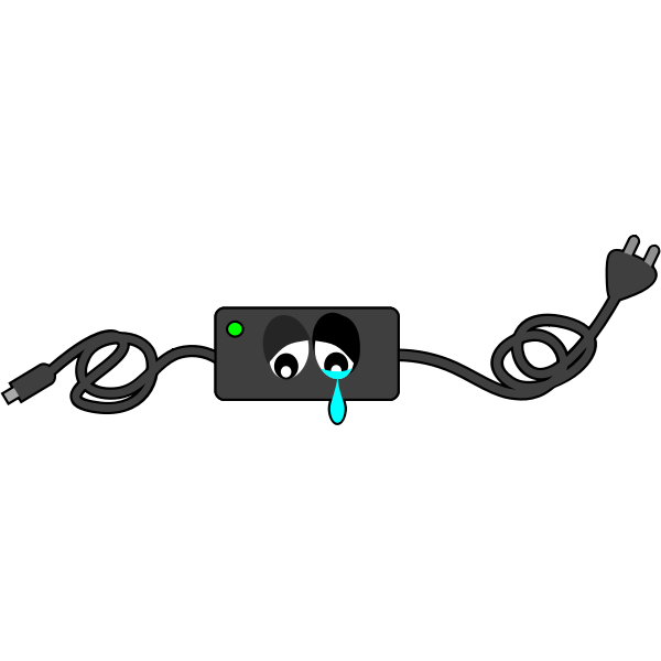 Computer charger crying eyes vector clip art