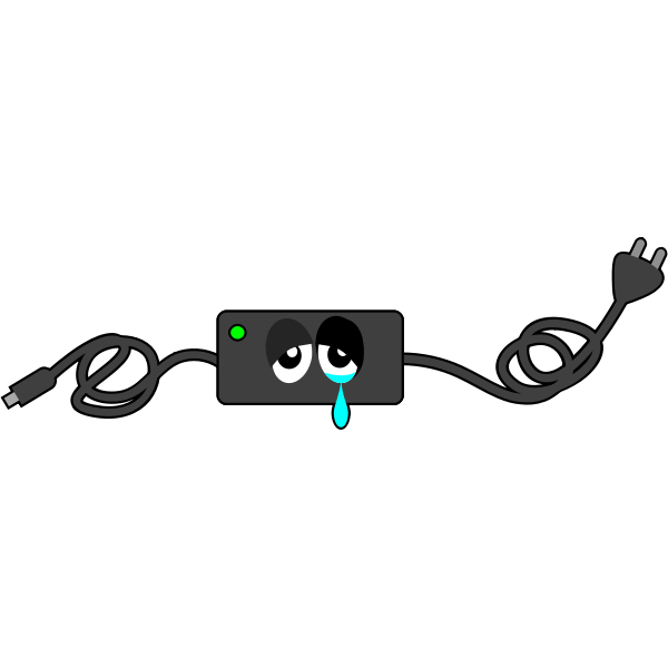Computer charger crying eye vector illustration