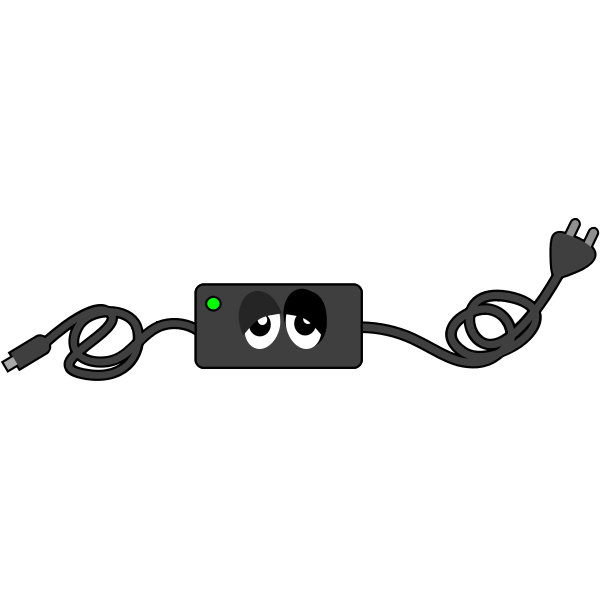 Computer charger sad eye vector drawing