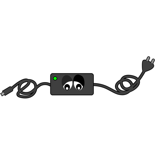 Computer charger sad eye looking down vector illustration