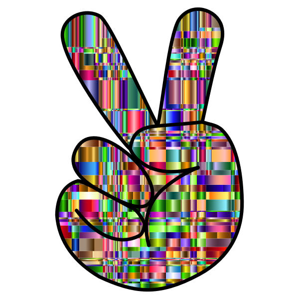 Checkered Chromatic Comic Hand Peace Sign