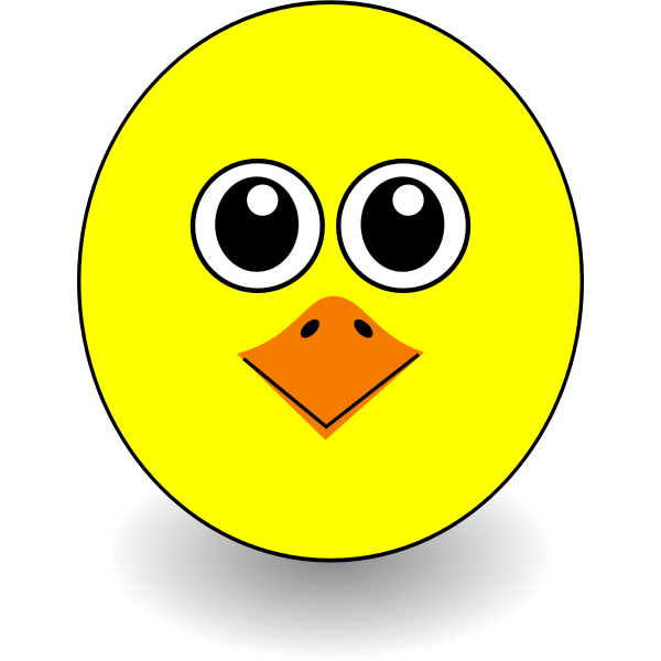 Cartoon funny chick face vector graphics
