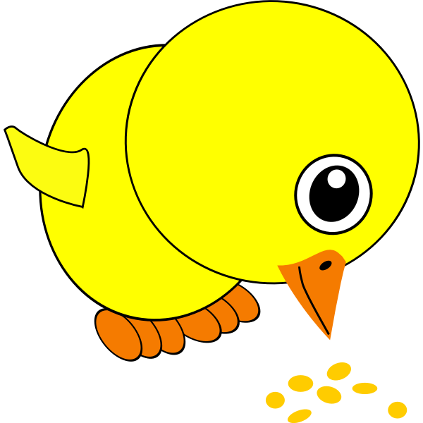 Cute yellow chick eating grains vector image