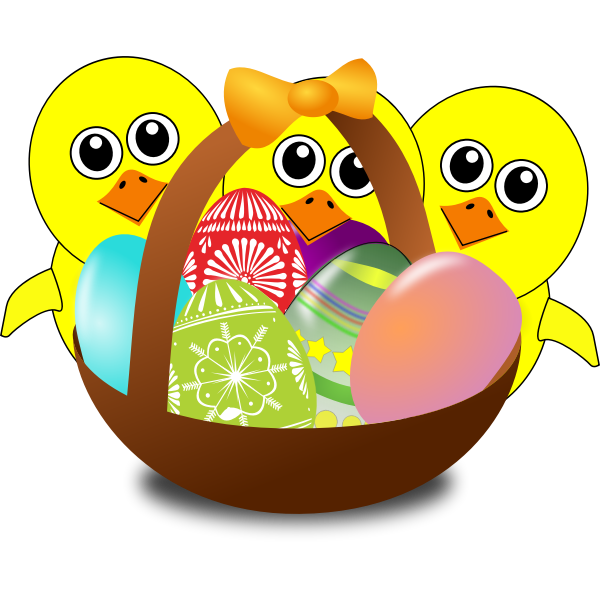 Cartoon chicks with Easter eggs in a basket vector image