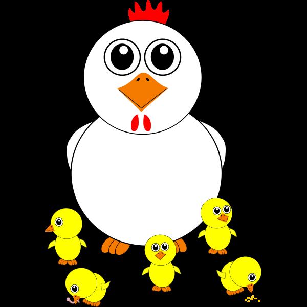 Cartoon chicken and chicks vector illustration