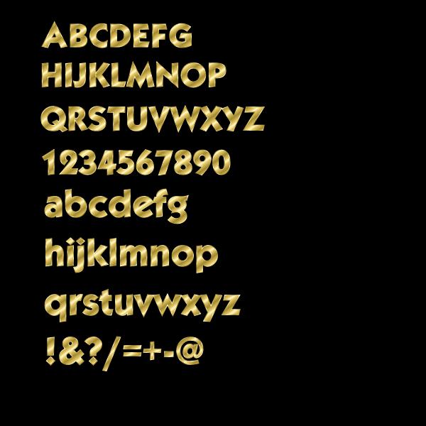Vector image of fancy alphabet in gold