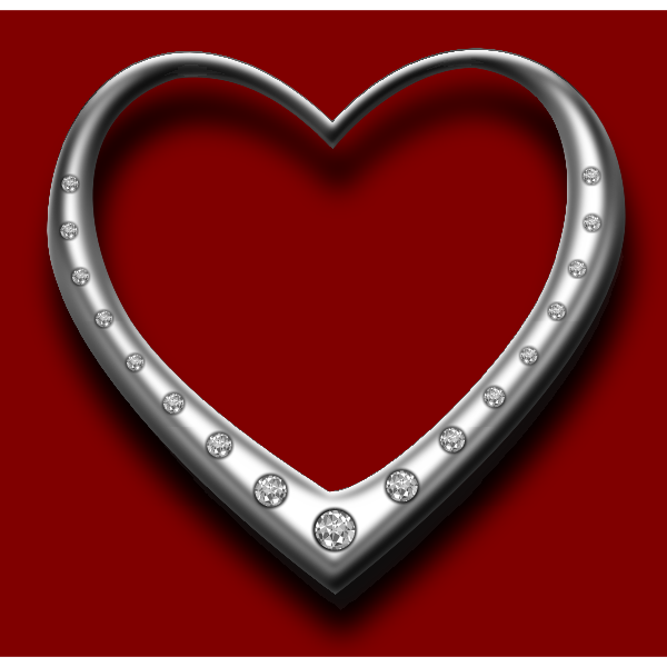 Heart with diamonds vector graphics