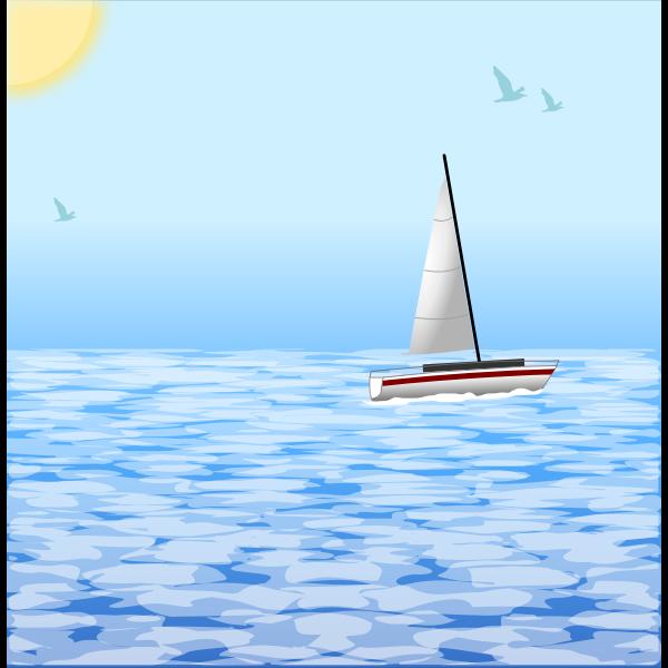 Sea scene with windsurfing boat vector illustration