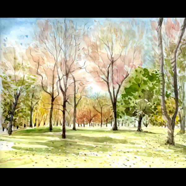 Forest landscape color illustration