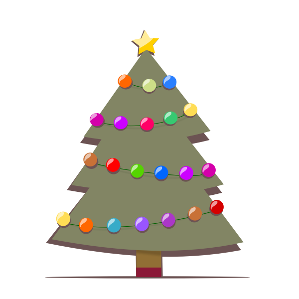 Decorated Christmas Tree Vector Drawing