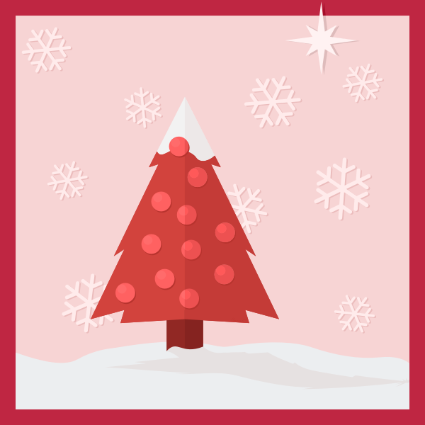 Christmas tree in the snow greeting card vector clip art