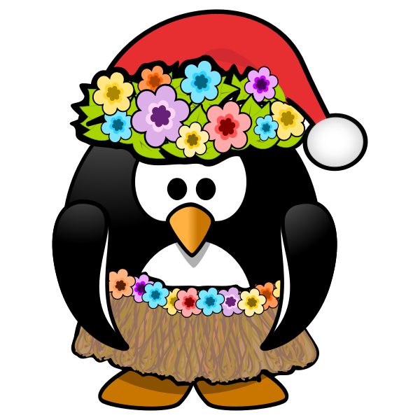 Hula penguin ready with Christmas hat vector clip art